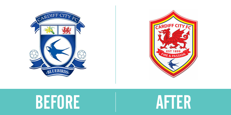 Cardiff City Rebrand Before and After