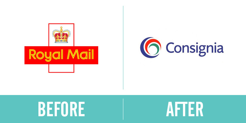 Royal Mail Rebrand Before and After