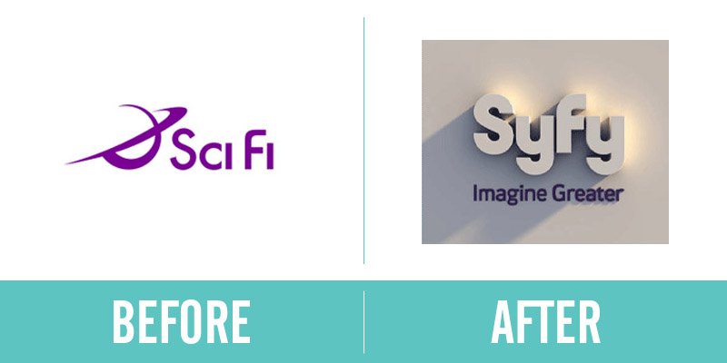 Syfy Rebrand Before and After