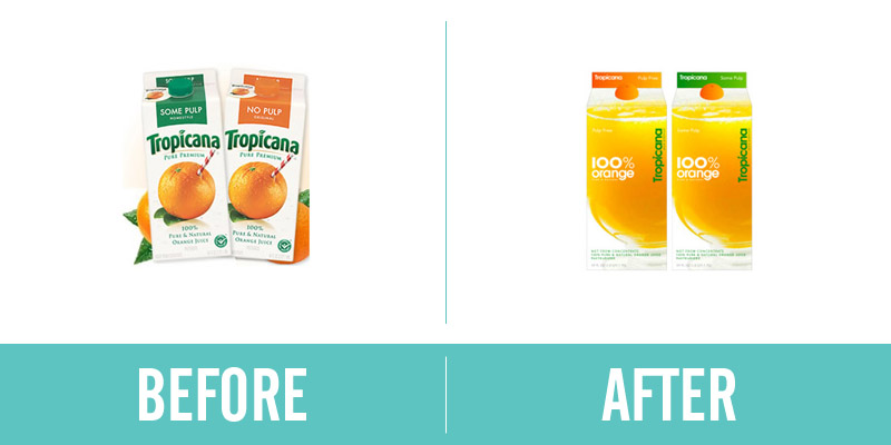 Tropicana Rebrand Before and After