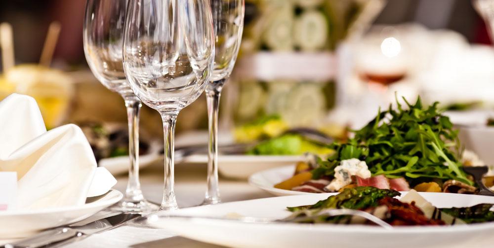 Generic restaurant photo with wine