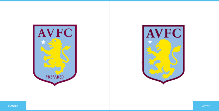 Aston Villa Football Club Logo Redesign Before and After Comparison