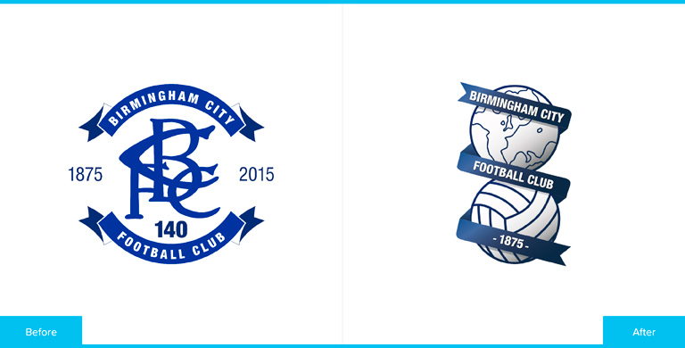 Birmingham City Football Club Logo Redesign Before and After Comparison