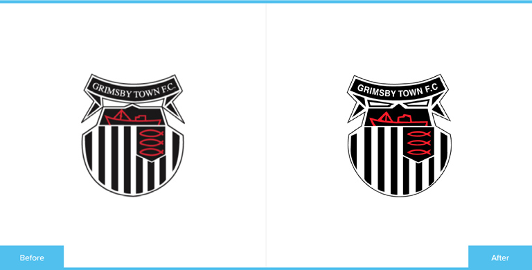 Grimsby Town Football Club Logo Redesign Before and After Comparison