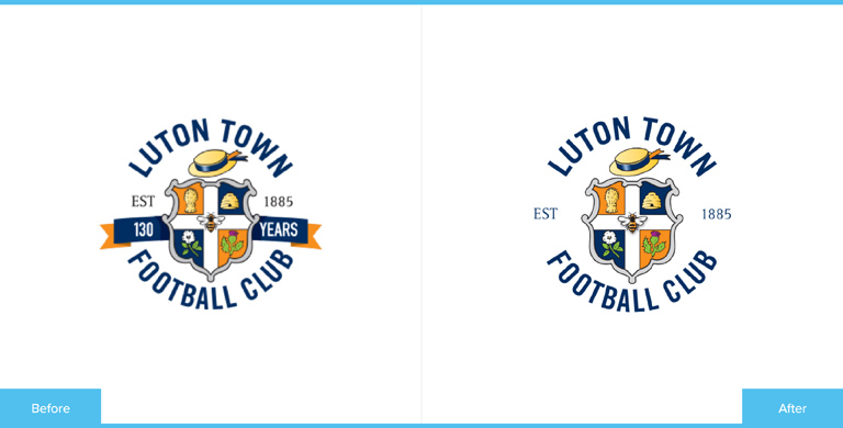 Luton Town Football Club Logo Redesign Before and After Comparison