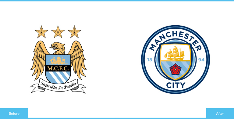 Manchester City Football Club Logo Redesign Before and After Comparison