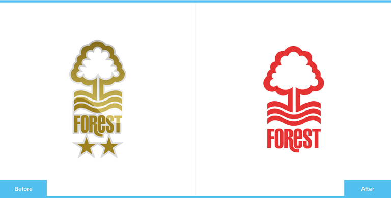 Nottingham Forest Football Club Logo Redesign Before and After Comparison
