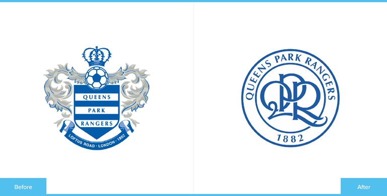 Queens Park Rangers Football Club Logo Redesign Before and After Comparison