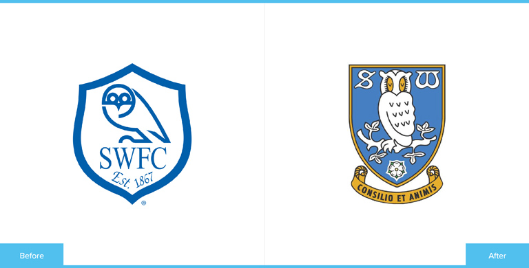 Sheffield Wednesday Football Club Logo Redesign Before and After Comparison
