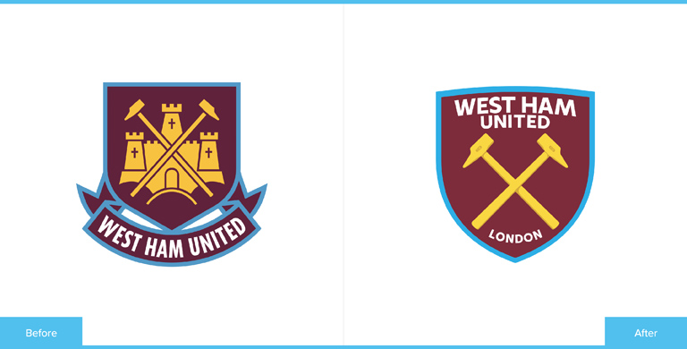 West Ham United Football Club Logo Redesign Before and After Comparison