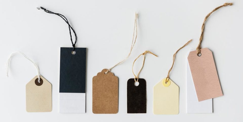 Row of different tags used to represent branding packages