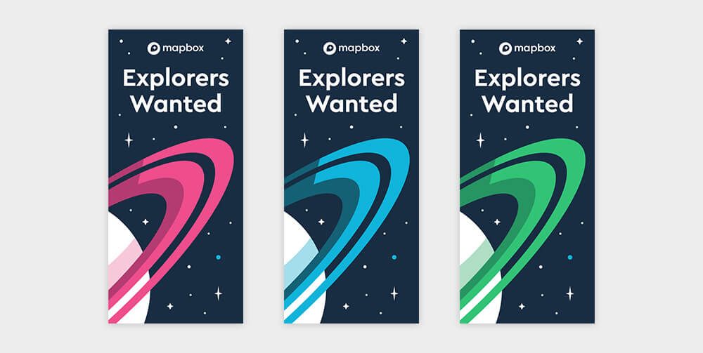 Three web banners with explorers wanted written on them