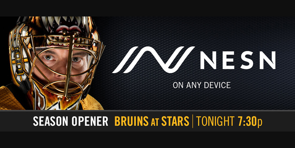 Ice hockey player and NESN logo on billboard